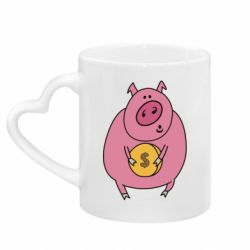 Кружка з ручкою у вигляді серця Pig and $