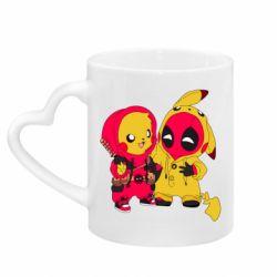 Кружка с ручкой в виде сердца Pikachu and deadpool