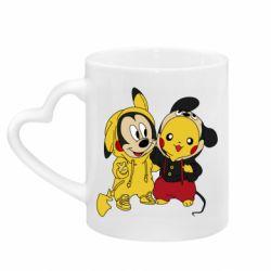 Кружка с ручкой в виде сердца Пикачу и Микки Маус