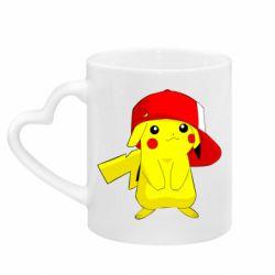 Кружка с ручкой в виде сердца Pikachu in a cap