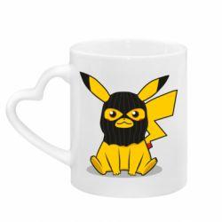 Кружка с ручкой в виде сердца Pikachu in balaclava