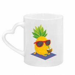 Кружка з ручкою у вигляді серця Pineapple with coconut