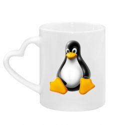 Кружка з ручкою у вигляді серця Пингвин Linux