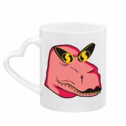 Кружка з ручкою у вигляді серця Pink dinosaur with glasses head