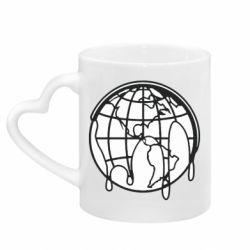 Кружка с ручкой в виде сердца Planet contour