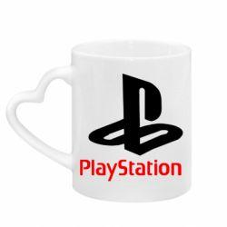Кружка с ручкой в виде сердца PlayStation