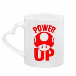 Кружка с ручкой в виде сердца Power Up гриб Марио