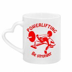 Кружка с ручкой в виде сердца Powerlifting be Stronger
