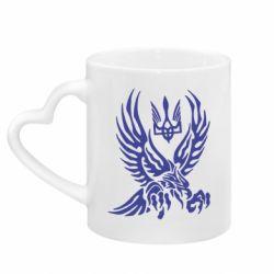 Кружка з ручкою у вигляді серця Птах та герб