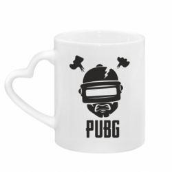 Кружка с ручкой в виде сердца PUBG: hero face