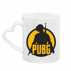 Кружка с ручкой в виде сердца PUBG logo and game hero