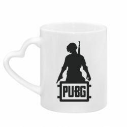Кружка с ручкой в виде сердца PUBG logo and hero
