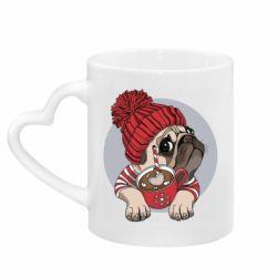 Кружка з ручкою у вигляді серця Pug And Coffee