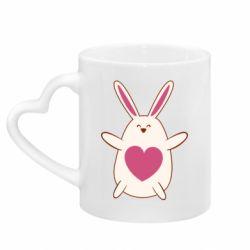 Кружка с ручкой в виде сердца Rabbit with a pink heart