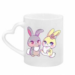 Кружка з ручкою у вигляді серця Rabbits In Love