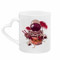 Кружка с ручкой в виде сердца Рамэн Космонавт
