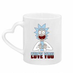 Кружка з ручкою у вигляді серця Rick and Morty fack and love you