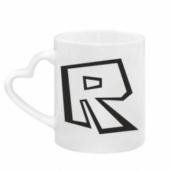 Кружка з ручкою у вигляді серця Roblox minimal logo