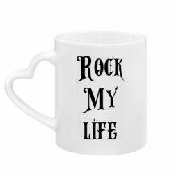 Кружка с ручкой в виде сердца Rock my life