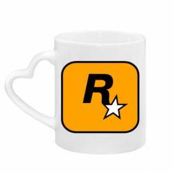 Кружка з ручкою у вигляді серця Rockstar Games logo
