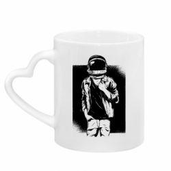 Кружка с ручкой в виде сердца Рок Космонавт
