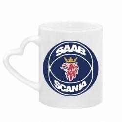 Кружка с ручкой в виде сердца SAAB Scania