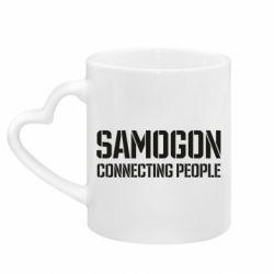 Кружка з ручкою у вигляді серця Samogon connecting people