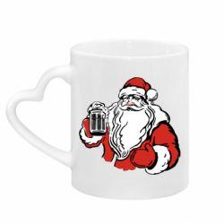 Кружка с ручкой в виде сердца Santa Claus with beer