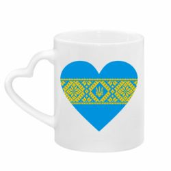 Кружка с ручкой в виде сердца Серце України
