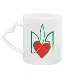 Кружка с ручкой в виде сердца Серце з гербом