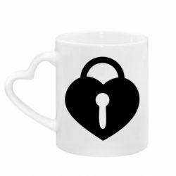 Кружка с ручкой в виде сердца Сердце со скважиной
