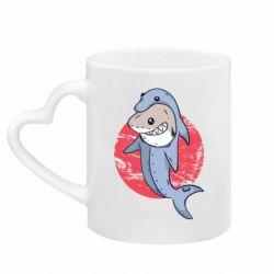 Кружка с ручкой в виде сердца Shark or dolphin