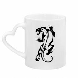 Кружка с ручкой в виде сердца Silhouette of a tiger