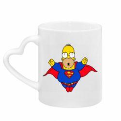 Кружка с ручкой в виде сердца Simpson superman