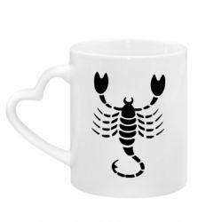Кружка с ручкой в виде сердца скорпион