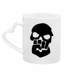 Кружка с ручкой в виде сердца Skull and Fist