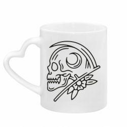 Кружка з ручкою у вигляді серця Skull with scythe