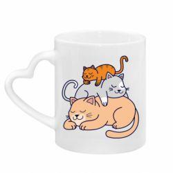 Кружка з ручкою у вигляді серця Sleeping cats