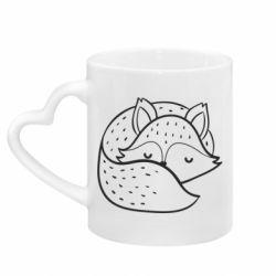 Кружка з ручкою у вигляді серця Sleeping fox