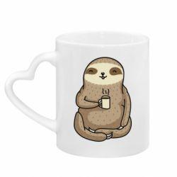 Кружка з ручкою у вигляді серця Sloth loves coffee