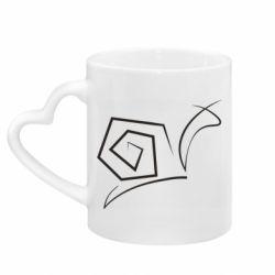 Кружка с ручкой в виде сердца Snail minimalism