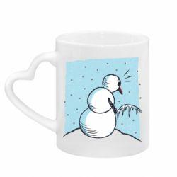 Кружка з ручкою у вигляді серця Snowman. It's Cold!
