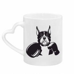 Кружка з ручкою у вигляді серця Собака в боксерських рукавичках