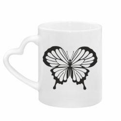 Кружка с ручкой в виде сердца Soft butterfly