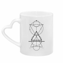 Кружка з ручкою у вигляді серця Сomposition of geometric shapes