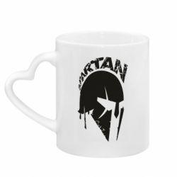 Кружка с ручкой в виде сердца Spartan minimalistic helmet