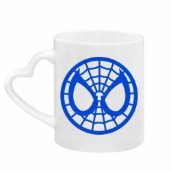Кружка с ручкой в виде сердца Спайдермен лого