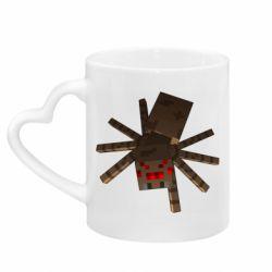 Кружка с ручкой в виде сердца Spider from Minecraft