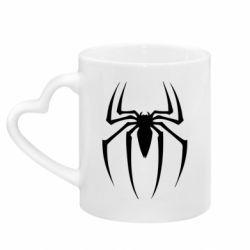 Кружка с ручкой в виде сердца Spider Man Logo