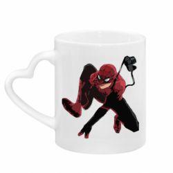 Кружка с ручкой в виде сердца Spiderman flat vector